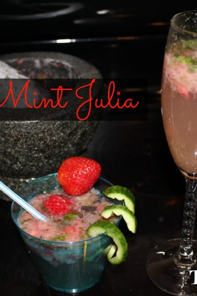 In honor of the KY Derby, I created a fun, festive, family and kid-friendly mocktail inspired by the classic Mint Julep. This non-alcoholic drink is super easy to make and tastes very refreshing. It includes: mint, strawberries, and cucumbers. Cheers!