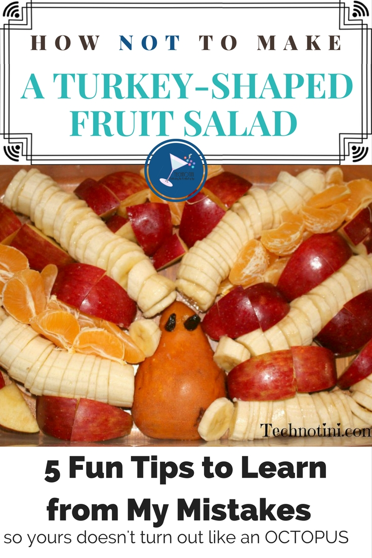 Turkey-shaped Fruit Salads or (Turkey Fruit Platters) are a fun and festive addition to any Thanksgiving party. They're great for school events and a super kid-friendly Thanksgiving snack. Check out my 5 helpful and funny tips on how to make this so yours does not turn out looking like an Octopus. #Thanksgiving #Thanksgivingfruitplatters #TurkeyFruitPlatters