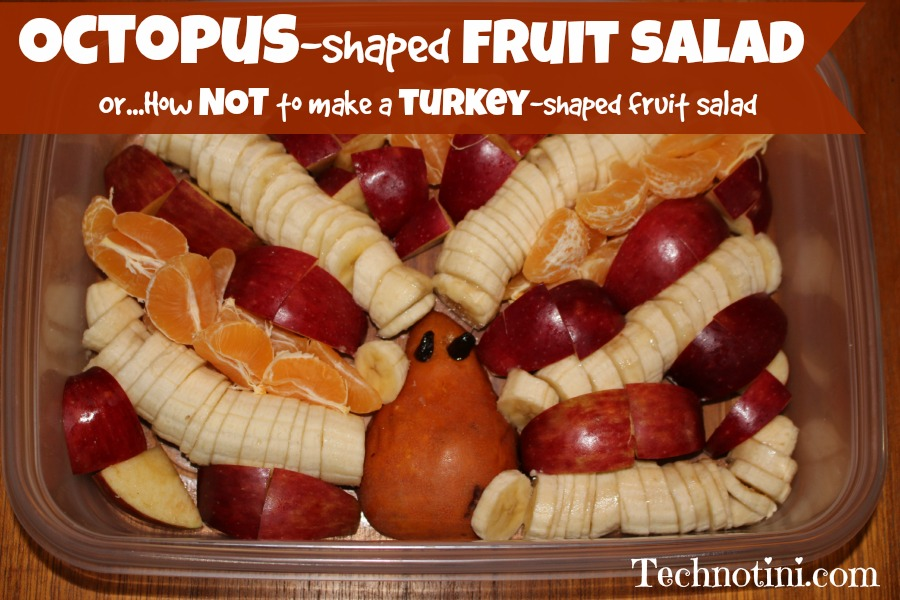 Sometimes fun, healthy, fruit salads (like festive turkey shapes) are not as easy to make as it would seem. Check out my 5 helpful and funny tips on how NOT to make a turkey-shaped fruit salad, unless of course you want to make an Octopus-shaped fruit salad.