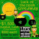 Get lucky this St. Patty's Day! Enter the Luck of the Irish Giveaway February 20-March 17 and enter to win a cash prize of $500! Three winners will be selected! Good luck!