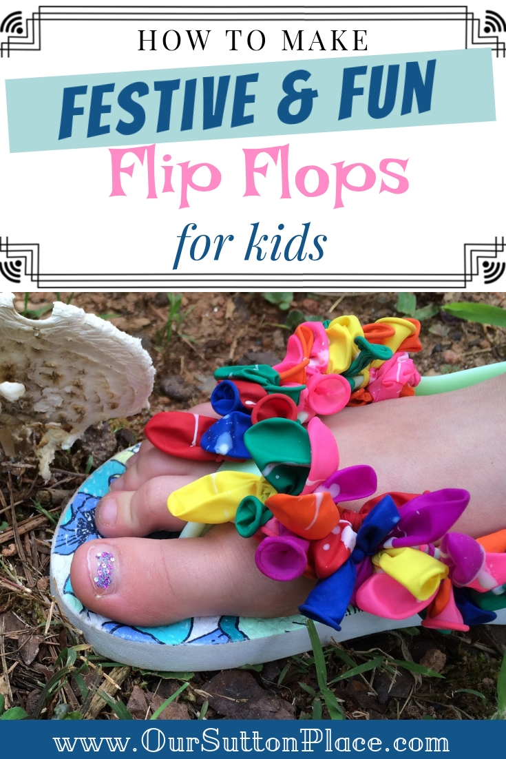 Easy to make fun and festive water balloon flip flops