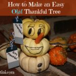Create a fun, festive, thankful tree featuring Olaf from Frozen! This is an easy DIY | Craft that simply uses white pumpkins and a few items that you probably already have around the house. My kids love giving their thankful tags to Olaf to hold. I bet yours will too! This post also includes tips on creating thankful conversations.