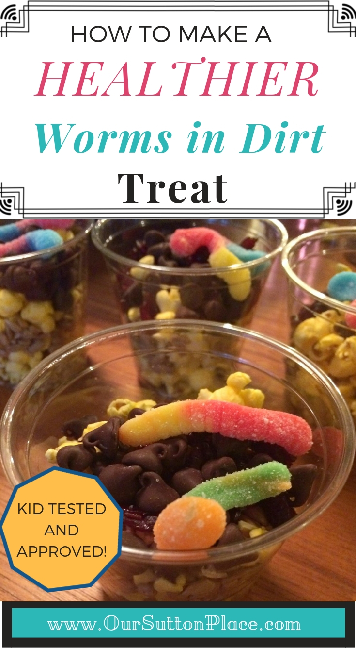 """These popcorn and seed based Worms in Dirt Cups are a healthier alternative to the traditional cookie or pudding based cups. Made with foods that birds actually eat, this Healthier """"Worms in Dirt Cup"""" Treat is a great compliment to a DIY Bird Feeder activity for school, Girl Scouts, or Cub Scouts. #pineconebirdfeeders #wormsindirtcups"""