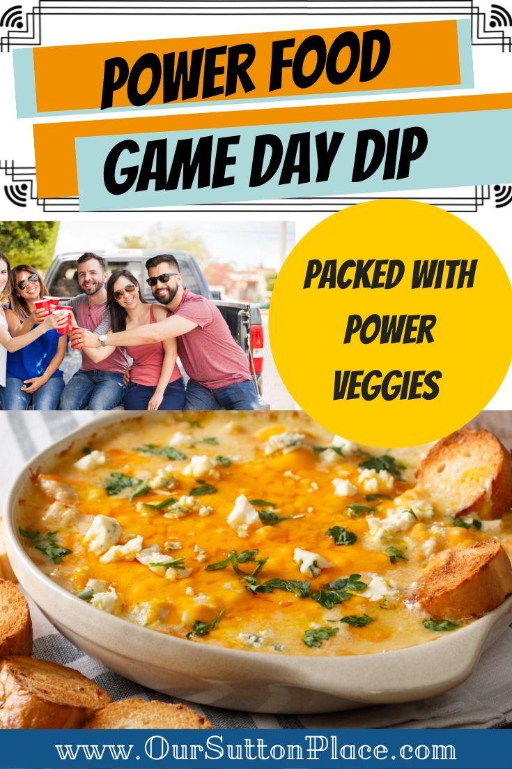 power veggie game day dip title card