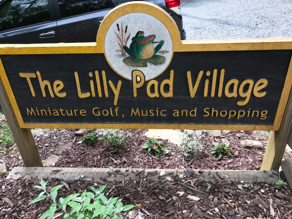 Welcome sign at Lilly Pad Village