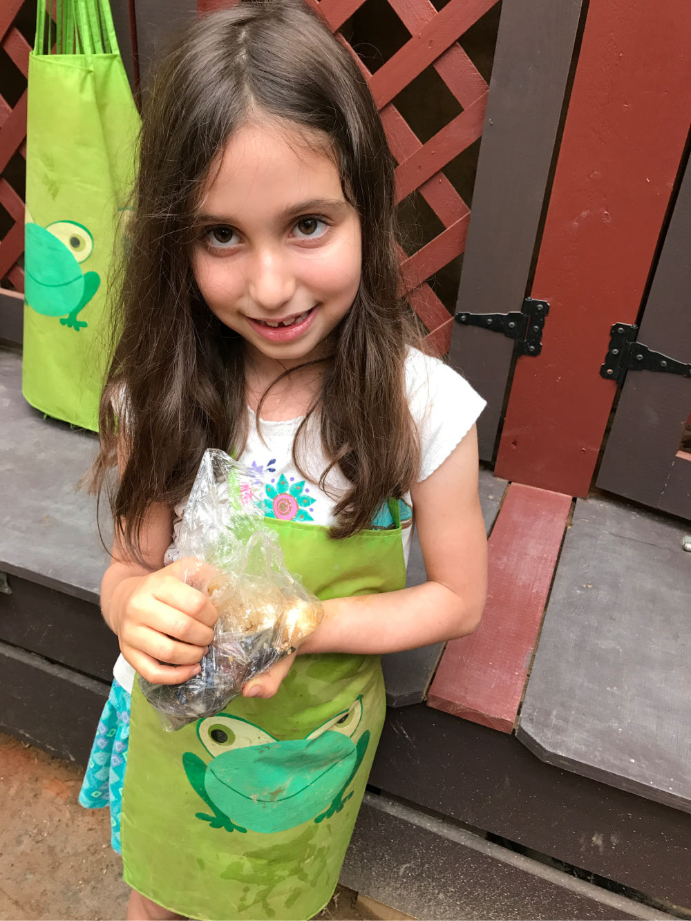 Girl in cute gem mining apron with a frog on it