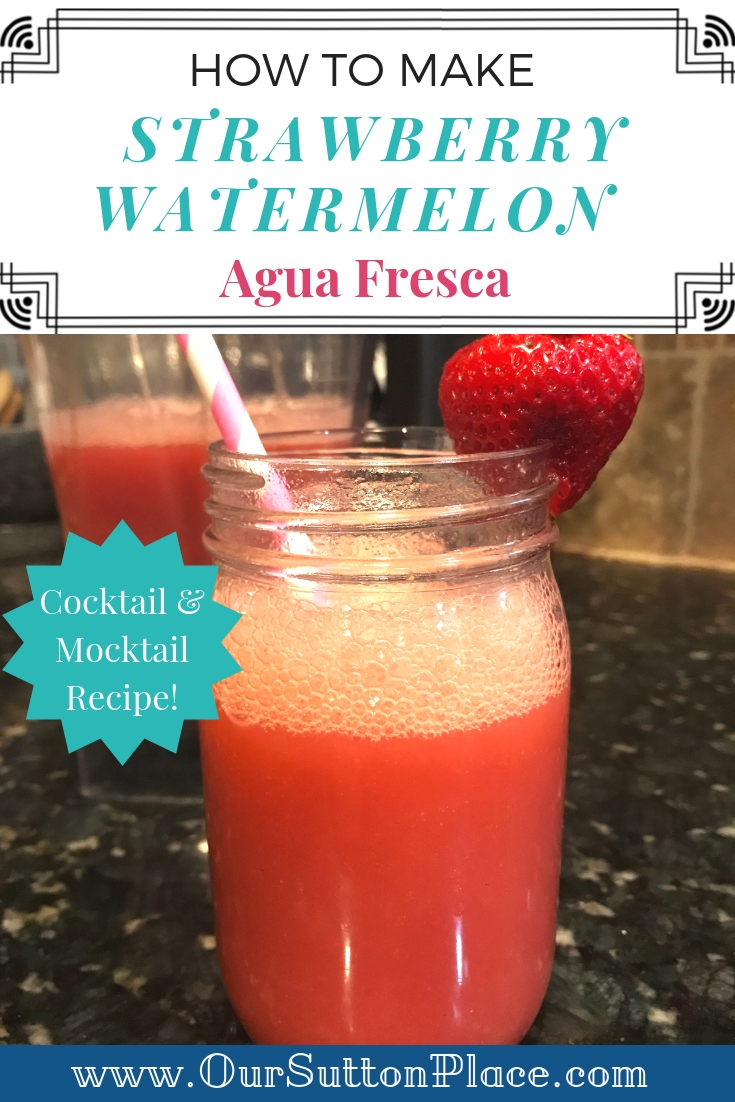 Pinterest Card for easy strawberry watermelon agua fresca recipe