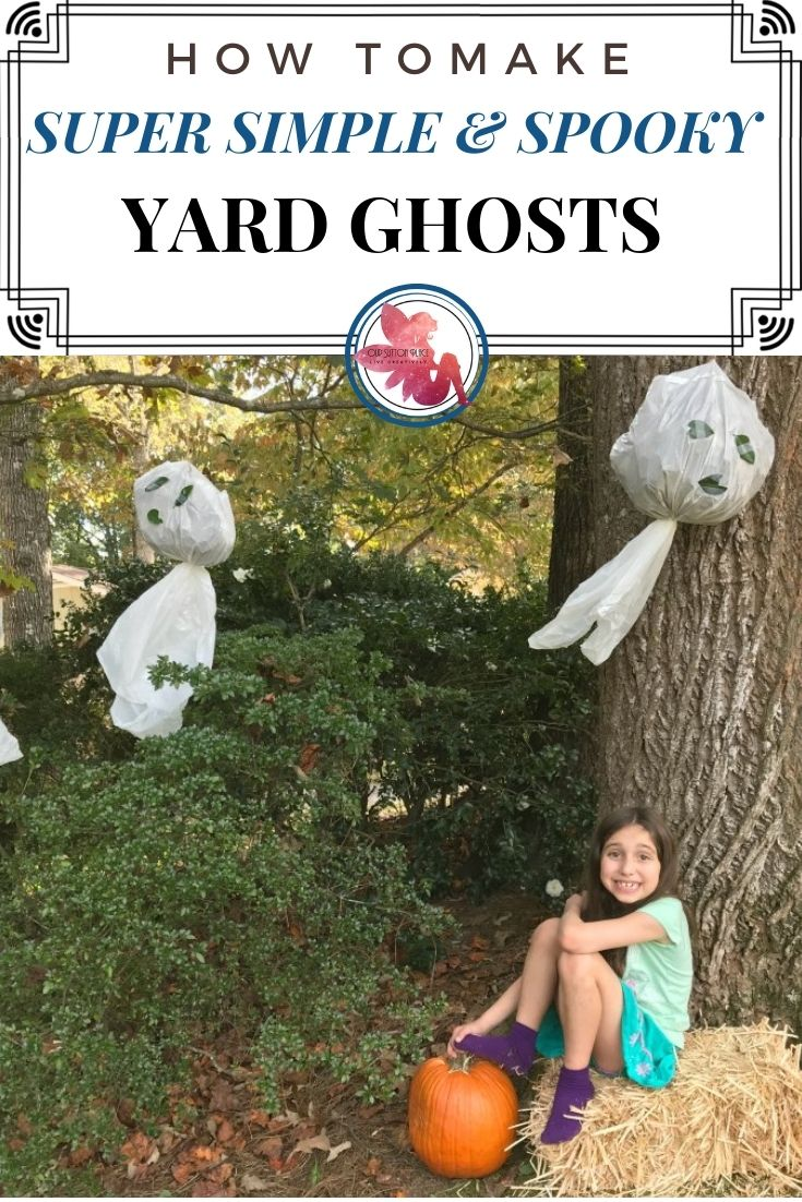 Title Card for How to Make Simple and Spooky Yard Ghosts featuring a girl sitting under a tree with a yard ghost hanging above her.
