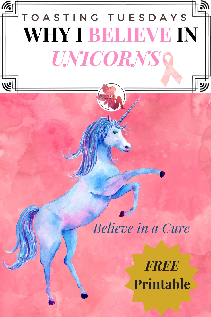 Unicorns remind us of our ability to believe in the impossible like finding a cure to end breast cancer. Download my free Believe in a Cure unicorn printable. #breastcancerawareness #unicorns #printable