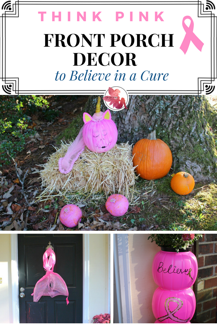 In honor of Breast Cancer Awareness Month, I created a fun and festive think pink front porch decor that will help you Believe in a Cure. Some highlights include, a unicorn pumpkin, a pink ribbon wreath, and an inspirational pink pumpkin topiary. Be sure to check out all my tips and tricks! #ThinkPink #frontporchdecor #breastcancerawareness