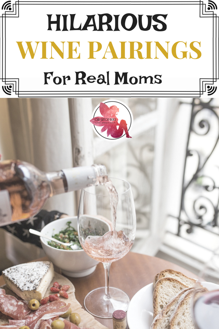 These hilarious wine pairings are perfect for real moms who have to scarf their food as they try to control the chaos of life with kids.  Have you ever paired donuts with wine? How about Girl Scout Cookies? Whether it's pizza, chicken nuggets, or Halloween candy, holiday cookies, or Thanksgiving Pie these foods are the perfect pairing for the busy mom who wants to relax with some wine and celebrate #momlife. #winepairings