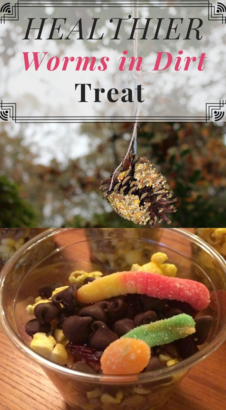 """These popcorn and seed based Worms in Dirt Cups are a healthier alternative to the traditional cookie or pudding based cups. Made with foods that birds actually eat, this Healthier """"Worms in Dirt Cup"""" Treat is a great compliment to a DIY Bird Feeder activity for school, Girl Scouts, or Cub Scouts. This post also includes instructions to make your own pine cone bird feeder, perfect for Fall. #pineconebirdfeeders #wormsindirtcups #Fall #kids"""