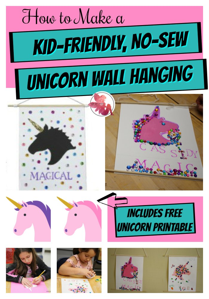 This super easy, no-sew and low-mess Unicorn wall hanging DIY craft is so fun for the kids with lots of room for personal expression. Everything can be personalized from colors to text to embellishments. I've also included a FREE unicorn stencil printable with 3 choices of color. #unicorncrafts #kidscrafts #nosewallhanging #unicornwallhangingdecor