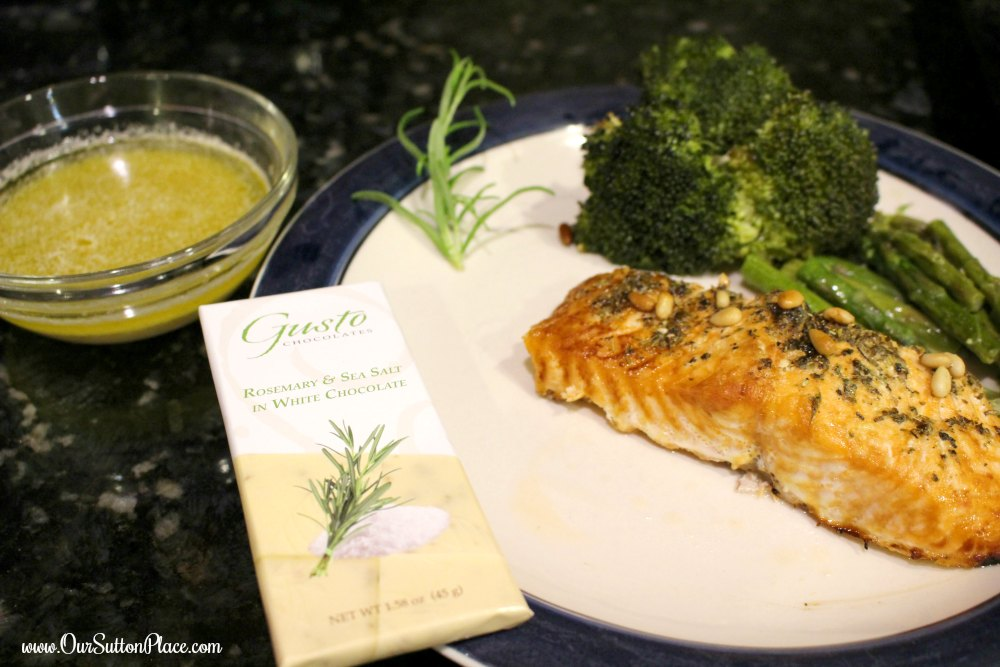 This White Chocolate Rosemary Lemon sauce for fish is light, fragrant, and well balanced. Pair it with Salmon and Pine Nuts (recipe also included in this post). The white chocolate lends a warm flavor that is well complimented by the fragrant herbs like the rosemary, lavender, and oregano. Try it leftover as a salad dressing with goat cheese. #Choctoberfest #Sponsored #SavoryChocolate #ArtisanChocolate