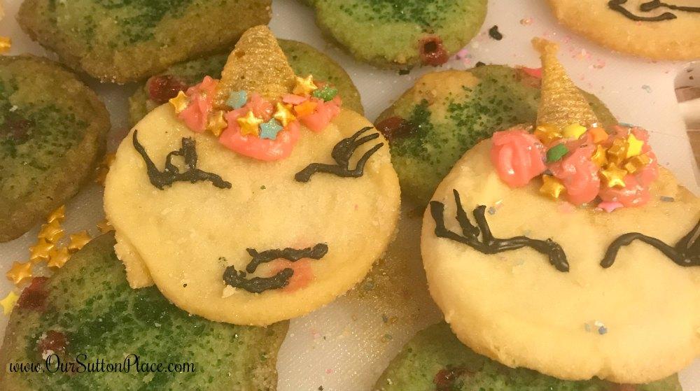 closeup of sleepy eye unicorn cookie