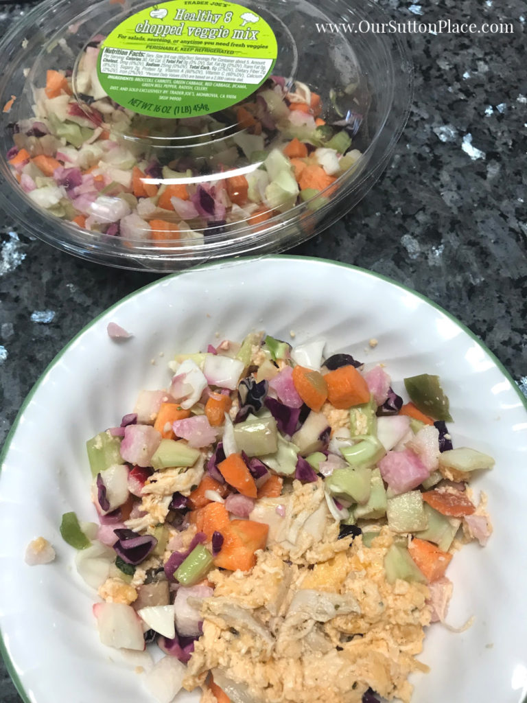 Easy Healthier Buffalo Chicken Dip on Salad