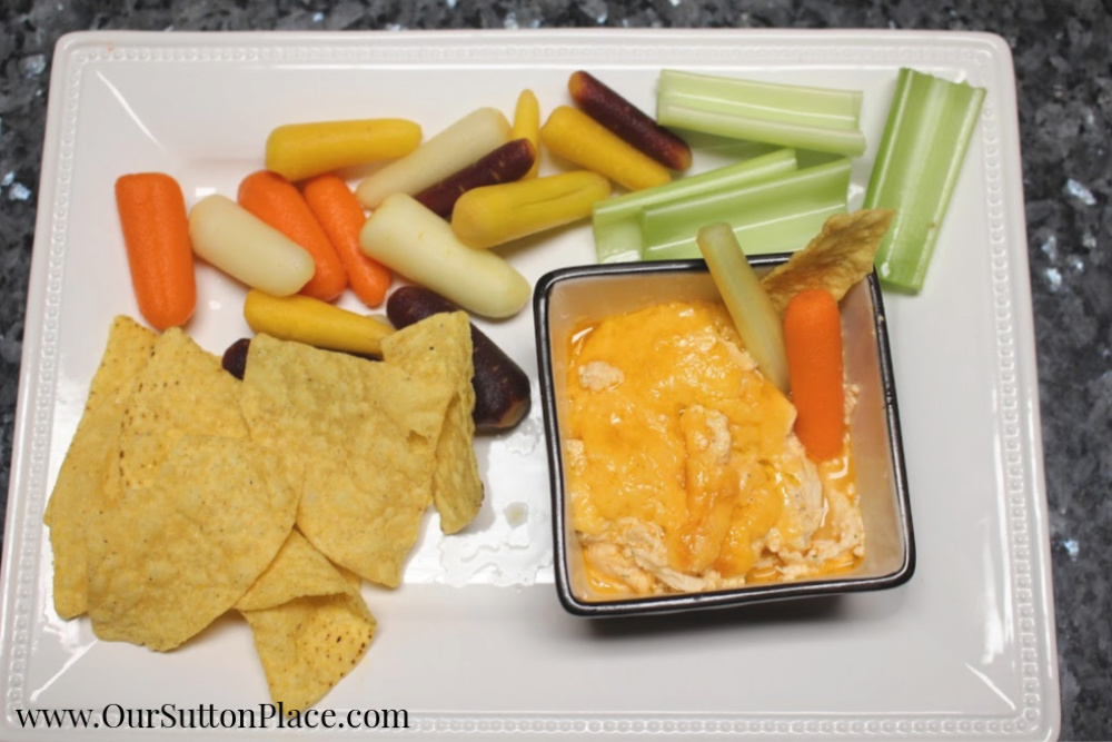 Easy Healthier Buffalo Chicken Dip on a plate