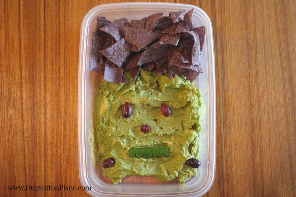 Frankenstein guacamole dip