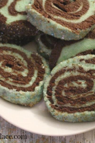 plate of mint chocolate pinwheel cookies