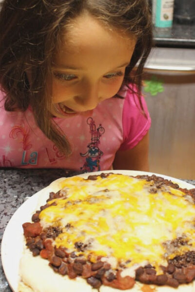 the chocolate taco pizza right out of the oven