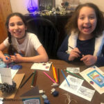 girls laughing making easy Hanukkah Cards