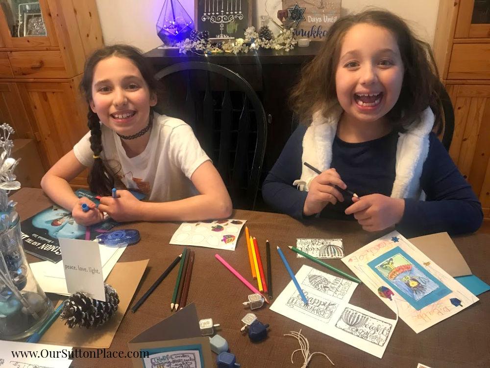girls laughing making easy Hanukkah Cards
