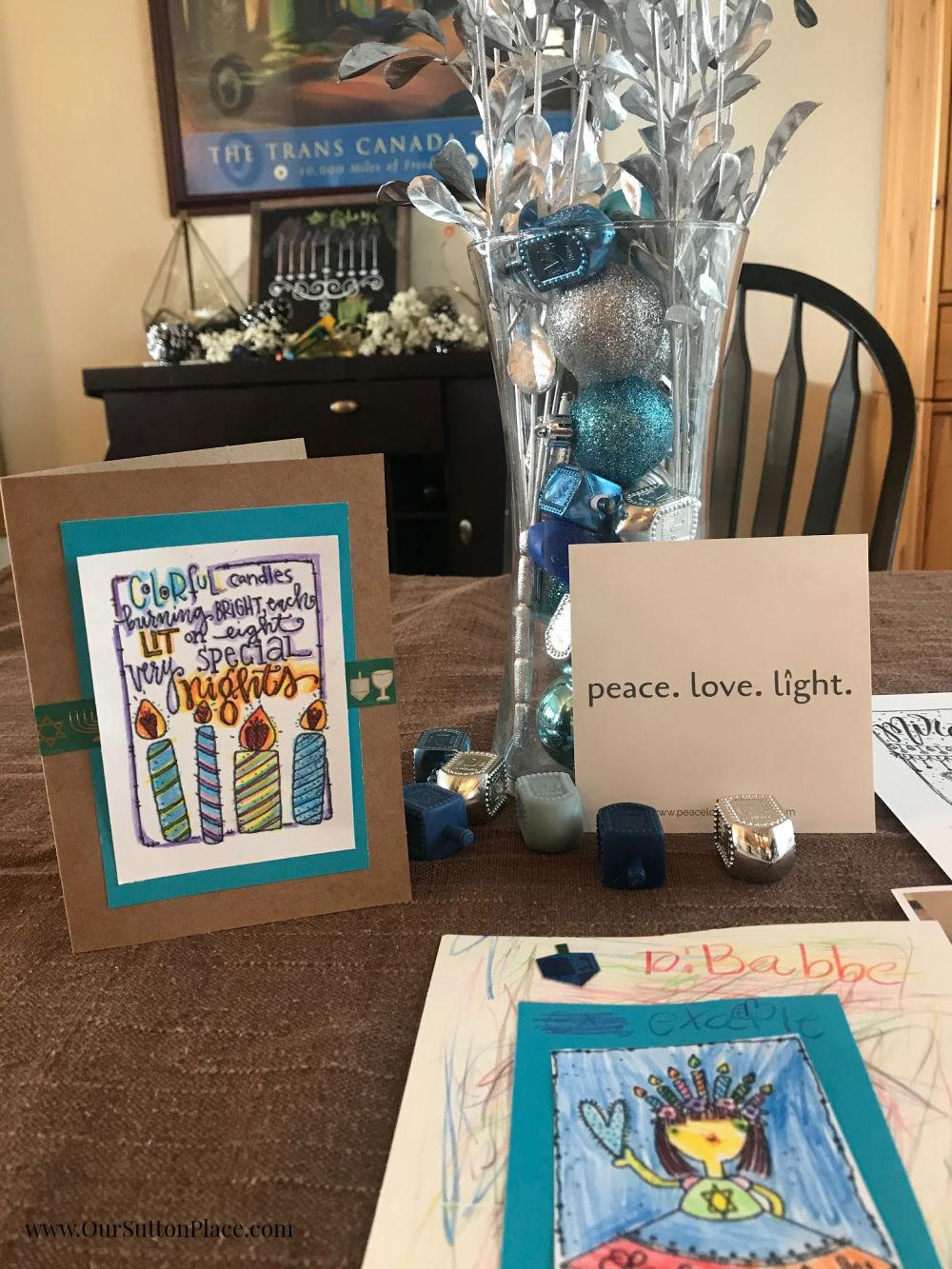 Display with Hanukkah DIY Cards