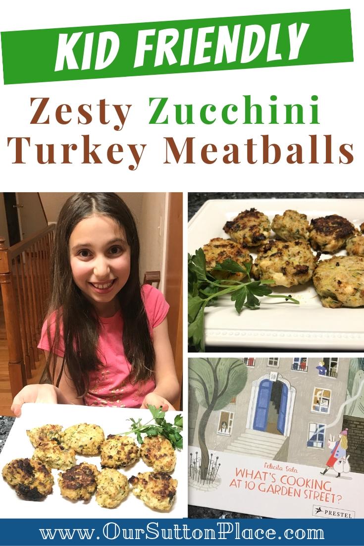 Zesty Zucchini Turkey Meatball recipe Collage image