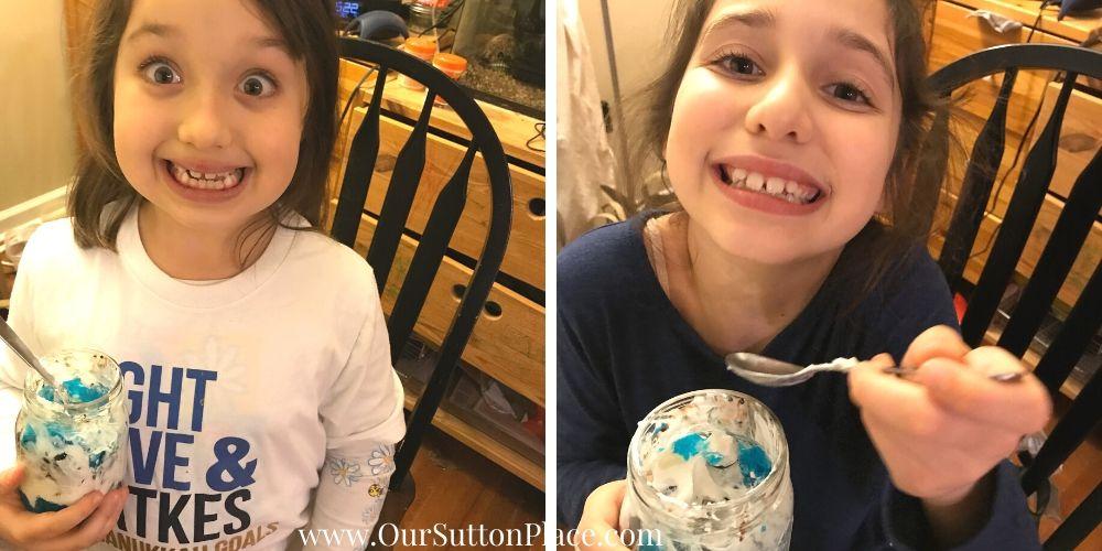 the #suttonsisters enjoying their blueberry granola parfaits