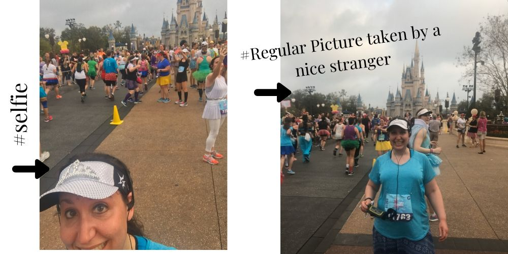 RunDisney pictures in front of the castle