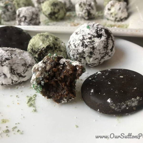 plate of Thin Mint Energy Balls
