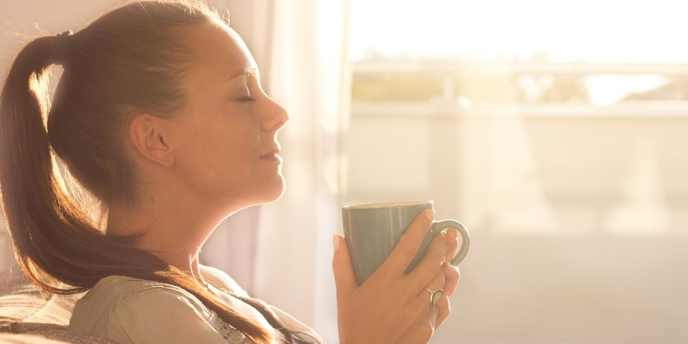 woman giving herself the gift of time before work