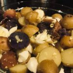 red, white, and blue Greek potato salad