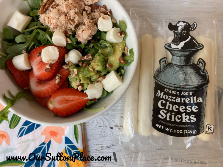 Strawberry Summer Salad with Trader Joe's Black and White label mozzarella cheese