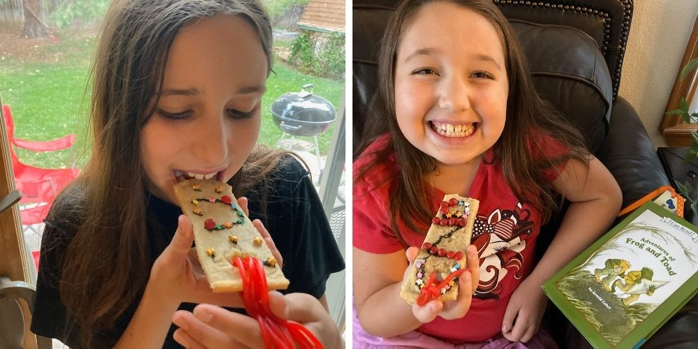 girls eating their bookmark shaped sugar cookies