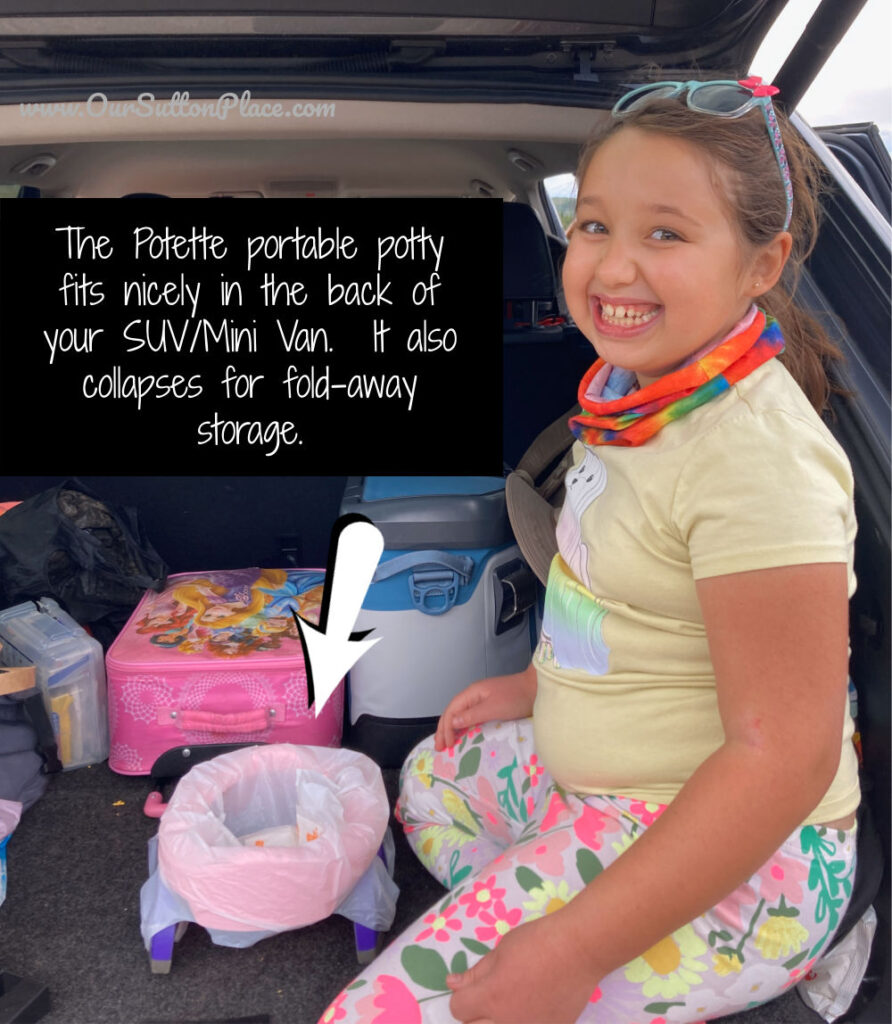"""Picture of girl sitting next to the Potette in the back of an SUV. The text says """"The Potette fits nicely in the back of the SUV or MiniVan and folds down nicely for storage."""