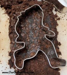 Big Foot Cookie Cutter in brownie cake
