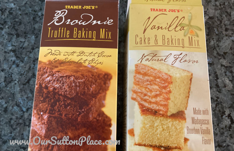 Brownie Mix and Vanilla Cake Mix from Trader Joes