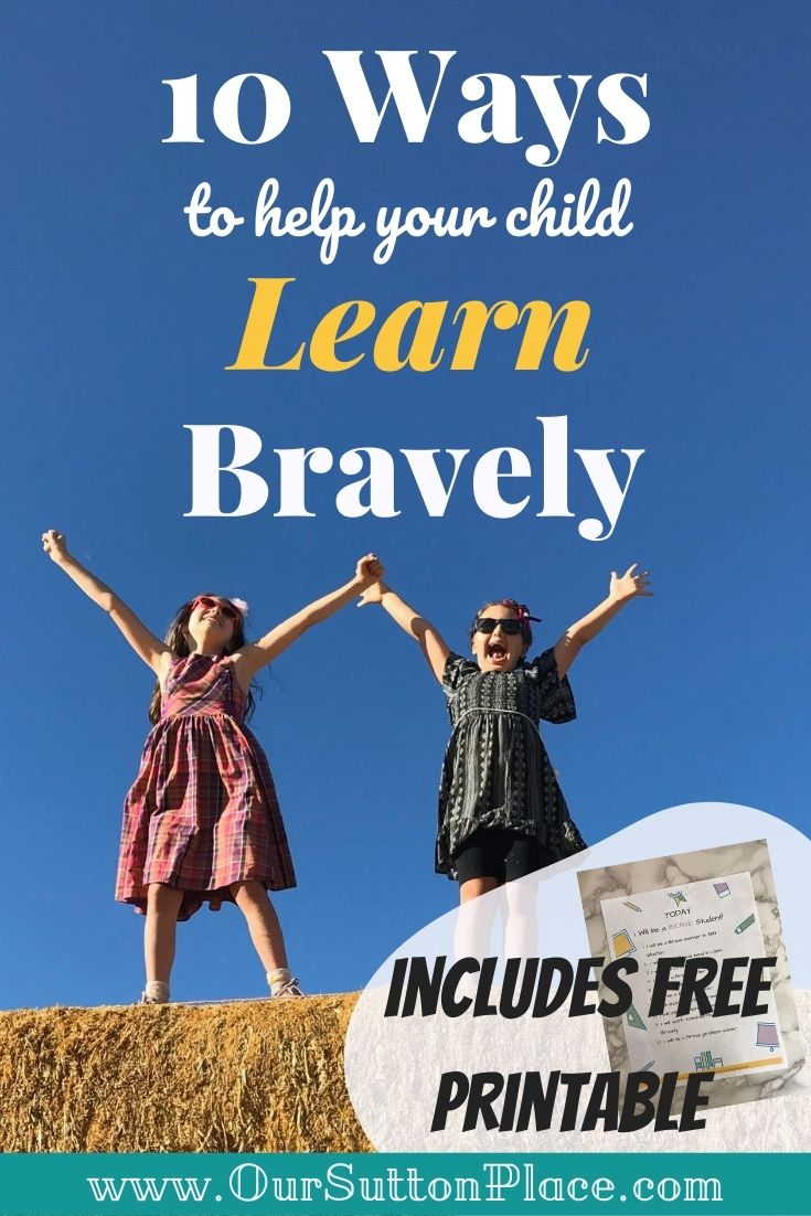 Title card for 10 ways to help your kids learn bravely