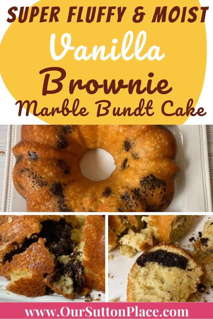 2nd Title card with lots of pictures of the vanilla brownie marble cake