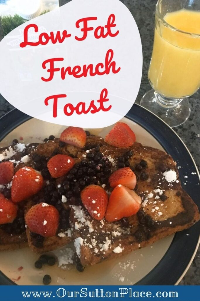 Title card for Low Fat French Toast recipe with picture of strawberry covered French Toast