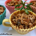 close-up picture of the Basil Peach Crumble cups in the silicon tea cups
