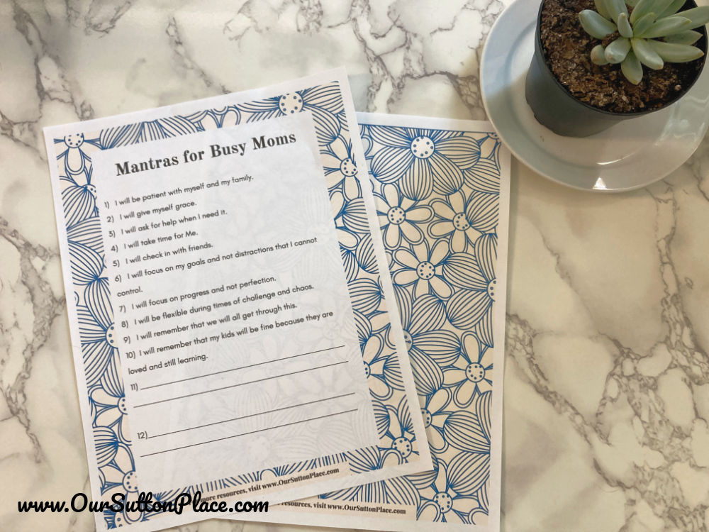 Printable with Mantras for busy moms
