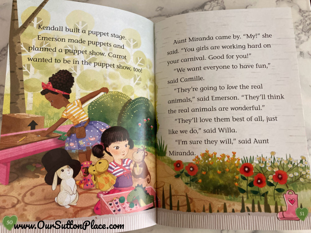 Inside look at the American Girl Welly Wisher illustrations picturing the characters playing outside