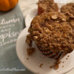 Closeup pic of lowfat chocolate chip pumpkin muffin