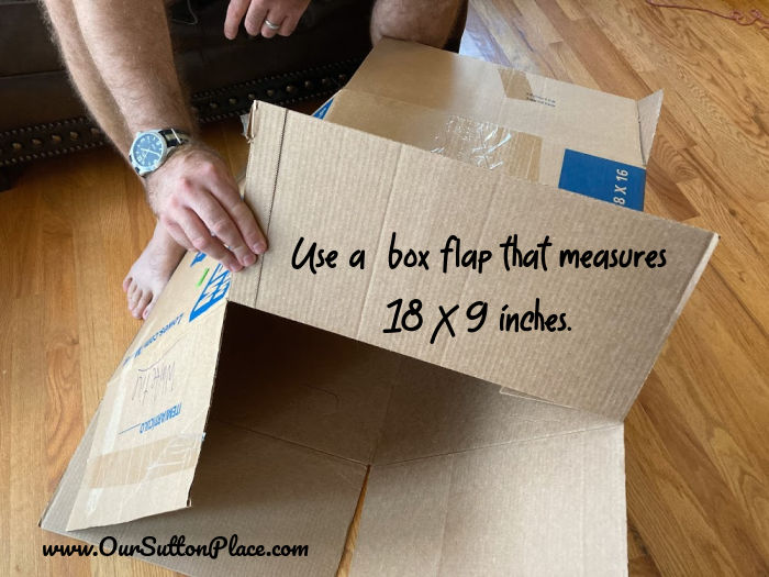 Box flap measuring 18X 9 inches