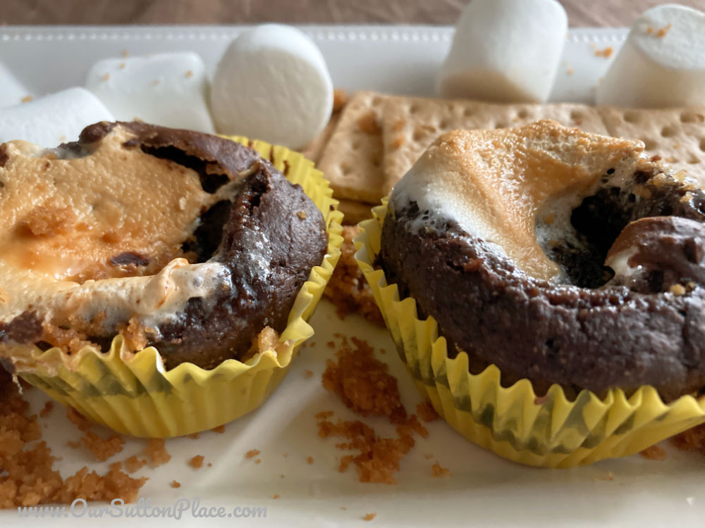 Two low-fat s'mores muffins on a plate