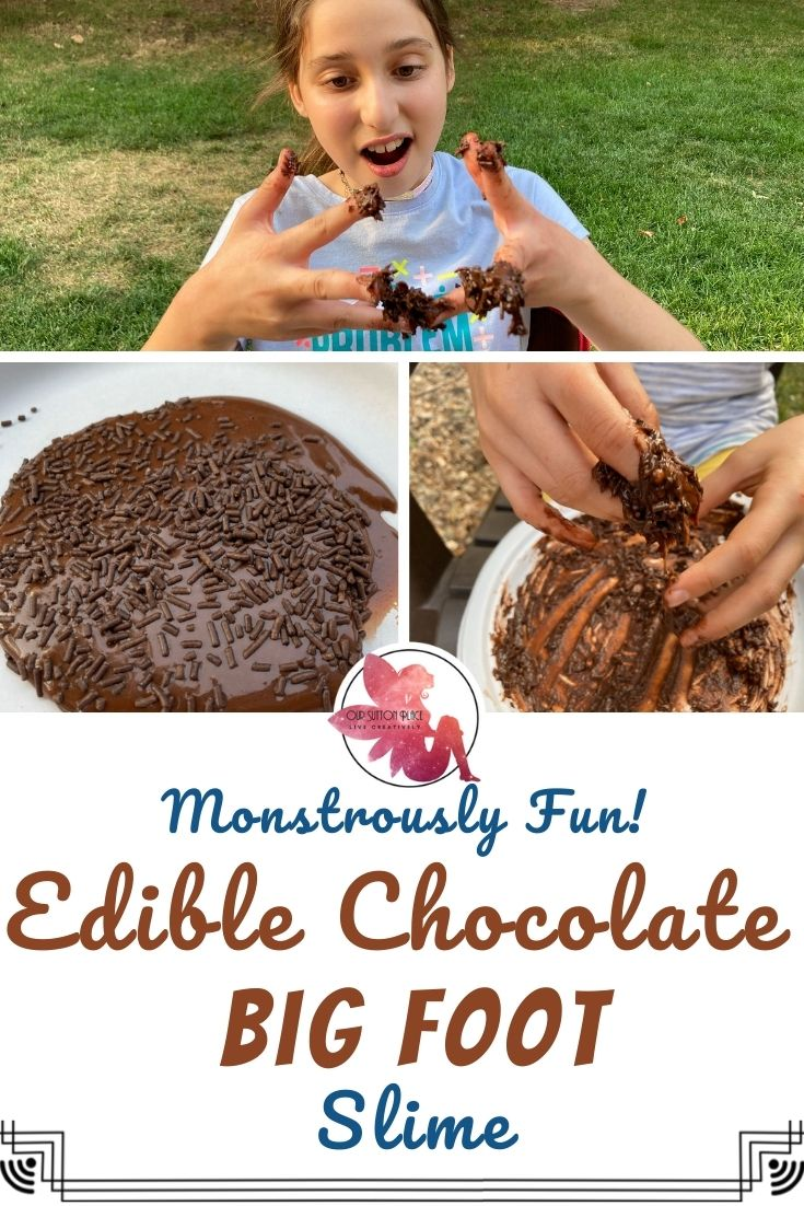 title card for Edible Chocolate Big Foot Slime with pictures of the slime and kids playing with it