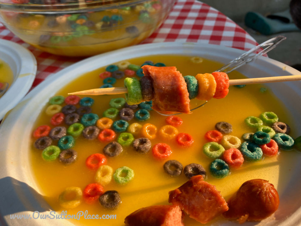 Judy Moody Tangerine Fondue with Froot Loops and hot dogs