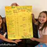 two girls holding up a piece of yellow poster board decorated as their summer thrill chart